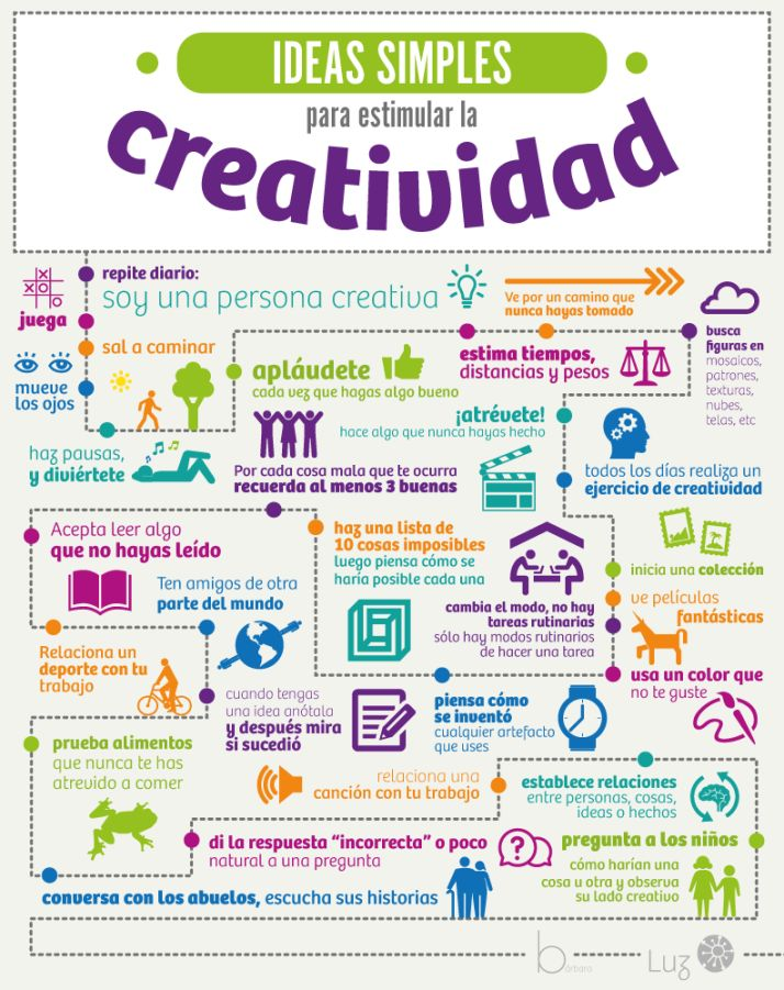 Ideas simples para estimular la creatividad #infografia #infographic
