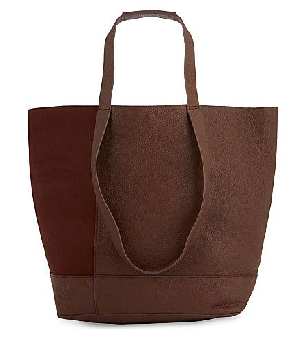 WHISTLES Hampson nubuck and grained leather tote. #whistles #bags #shoulder bags #hand bags #leather #tote #