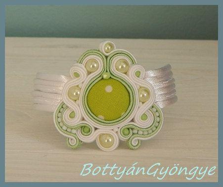 Snowdrop asymmetric soutache bracelet  simple by BottyanGyongye