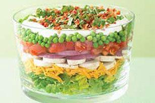 Layered Summer Salad: Kraft Recipe, Layered Salads, Kraft Food, Red Onions, Layered Summer, Summer Salad Recipe, Summer Salads, 7 Layered Salad, Peas