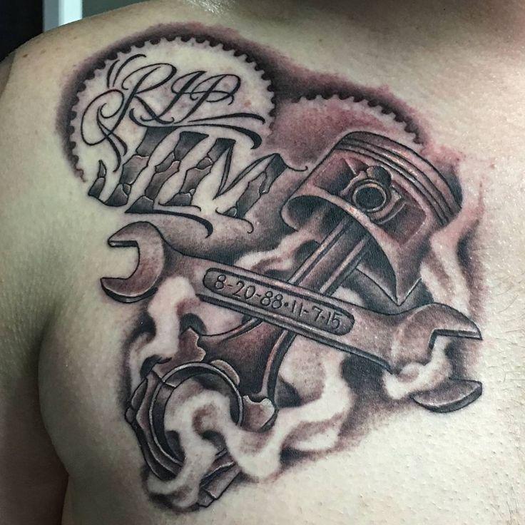 Wrench and Piston Tattoo by brandi18c1