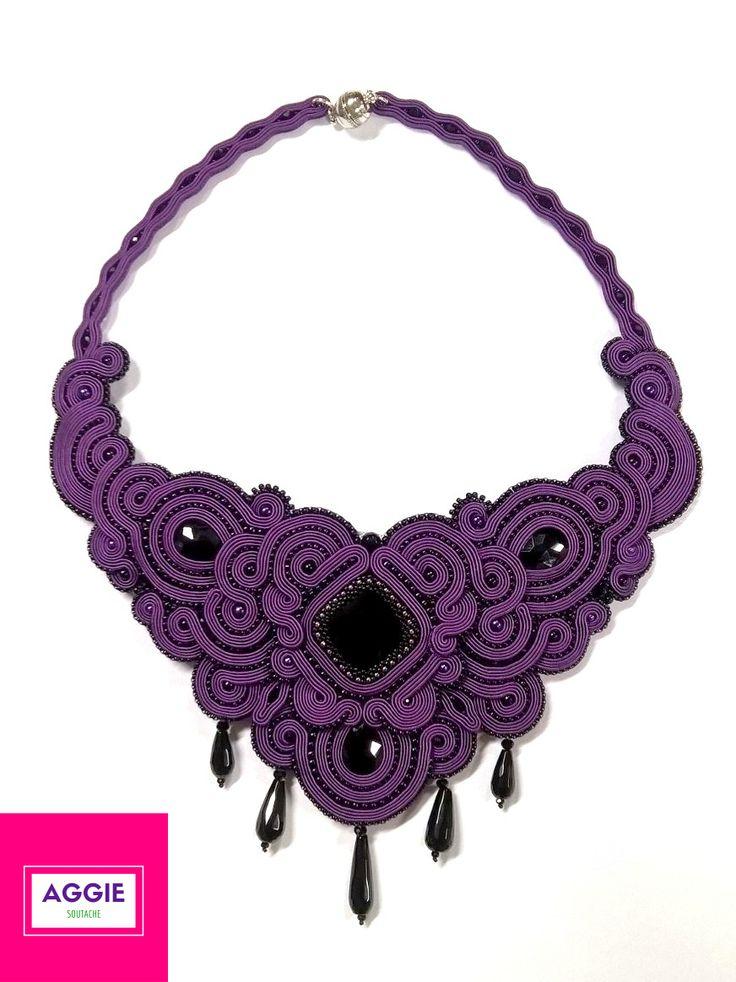 Purpurowy Nokturn - gotycki, mroczny i majestatyczny naszyjnik sutasz z onyksami #gothicstyle #gothic #alternativejewelry #soutache