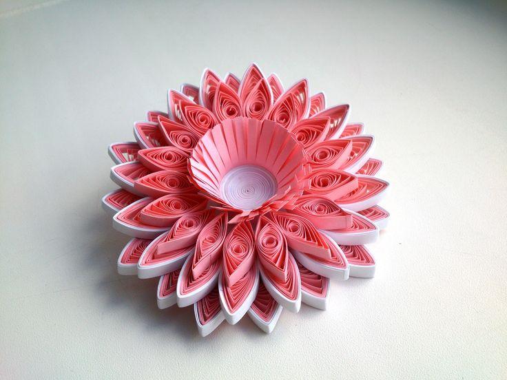 DIY Paper 3D Quilling Tutorial - Pink 3D Quilling flower.