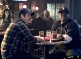 A humorous ad taken from a New Era commercial involving Darryl from the Office and Ron Swanson from Parks and Recreation. Both actors, Nick Offerman and Craig Robinson, are from the Chicago area and are seen arguing about which team is better.