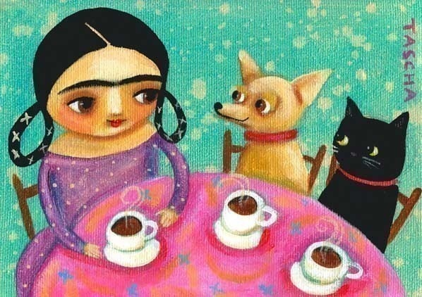 Frida Kahlo Tea Time chihuahua and cat PRINT from Tascha painting. $15.00, via Etsy.