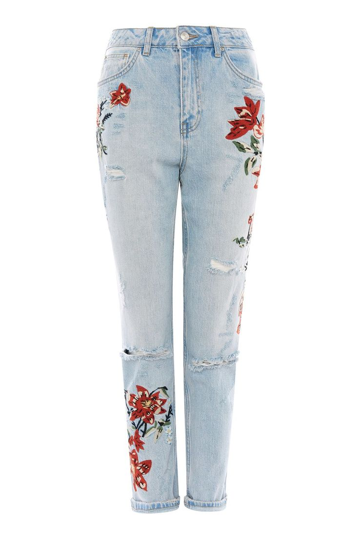MOTO Flower Embroidered Mom Jeans - View All Sale - Sale & Offers - Topshop