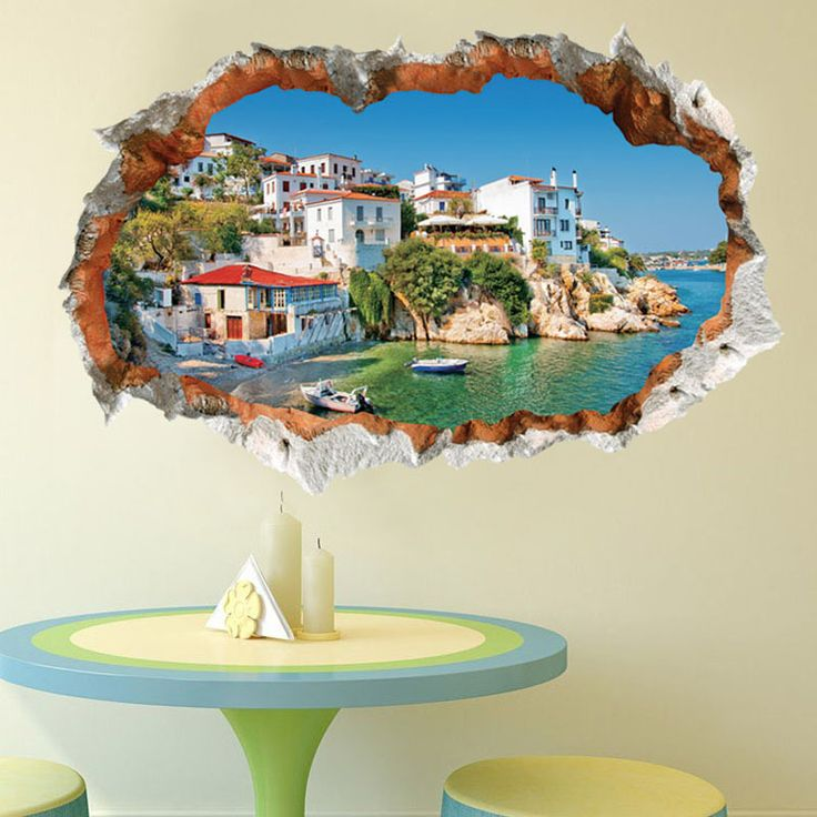 European construction 3D Wall Sticker Mediterranean Sea mural for kids room quarto wall decals decoration home decor 60*90CM