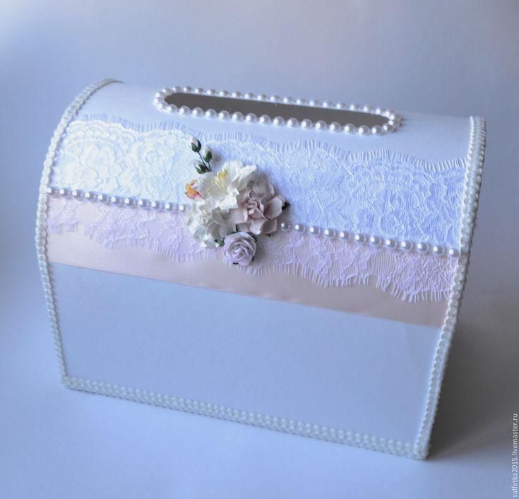 Купить или заказать Сундучок для конвертов с кружевом шантильи и розовой лентой в интернет-магазине на Ярмарке Мастеров. Сундучок для конвертов с кружевом шантильи и розовой лентой, Возможно изготовление целого набора в едином…