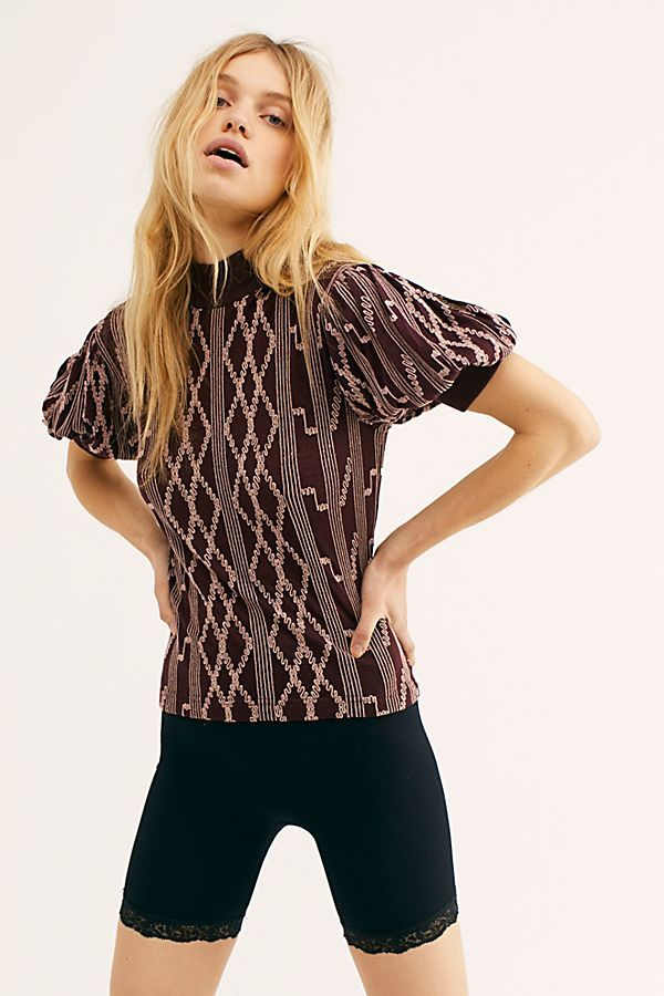 5b14cca70eba17 Between The Lines Top - Maroon Short Sleeve Sweater Top with Puff Sleeves  and Geometric Pattern