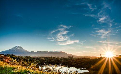 Mt Taranaki and Lake Mangamahoe, New Plymouth, New Zealand