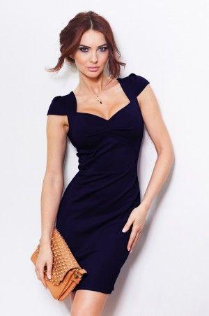 23-7 Granatowa sukienka z ładnym dekoltem - lacosta - 600