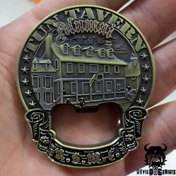Tun Tavern Alumni Marine Corps Challenge Coin - Bottle Opener was designed by Devil Dog Shirts to honor our Marine Corps and the place of it's birth. Tun Tavern, Philadelphia, 1775! Semper Fidelis!
