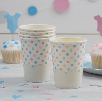 Cute, spotty paper cups, a perfect product for a baby shower or gender reveal party.