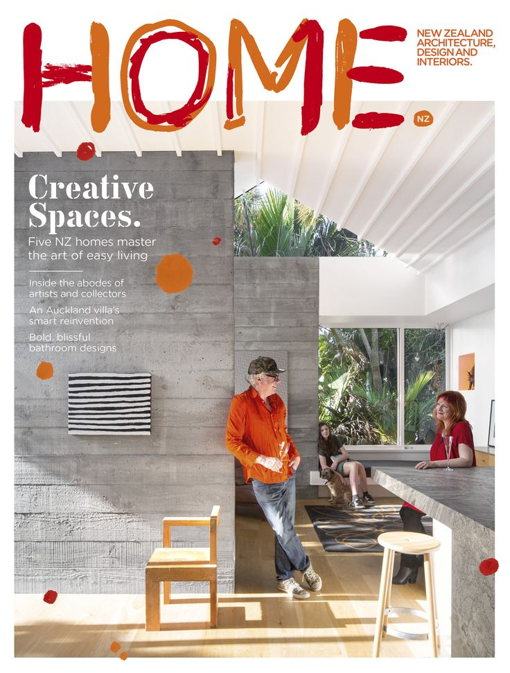 The cover of our 2015 Art Issue features a reimagined HOME masthead by artist John Reynolds. The photograph shows John at home with his wife, Claire McLintock, their daughter Vita, and their dog Jock. The artwork beside John is by Phyllis Thomas. The chair is by Gerrit Rietveld and was made by John's brother Jeremy Reynolds. The photograph is by one of John's other brothers, Patrick Reynolds.