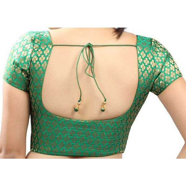 Readymade Designer Green Golden Dot Brocade Silk Sari Blouse With Lace... ($16) ❤ liked on Polyvore