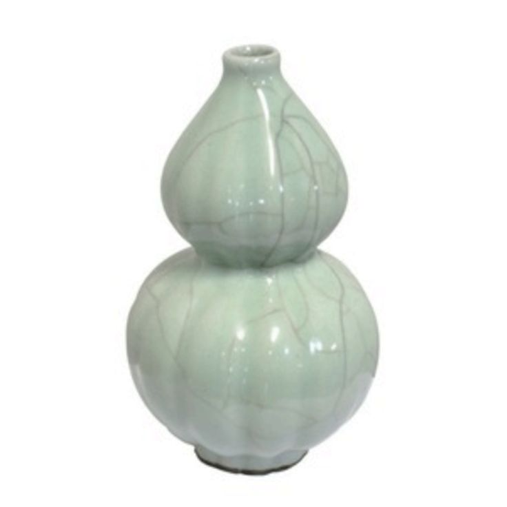 Vase Double Gourd in Tea Ink - Porcelain small pot