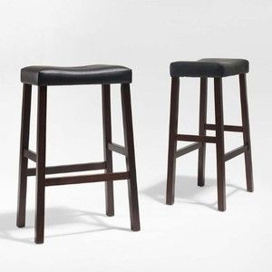 Upholstered Saddle Seat Bar Stool Set of 2