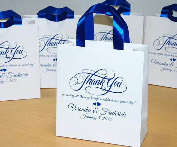 40 Wedding Favor Bags With Satin Ribbon And Names Personalized Welcome Bag Elegant Royal Blue Weddings Favors For Guests