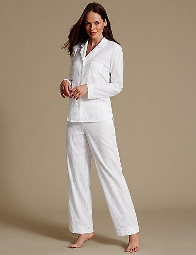 Pure Cotton Striped Long Sleeve Pyjama Set