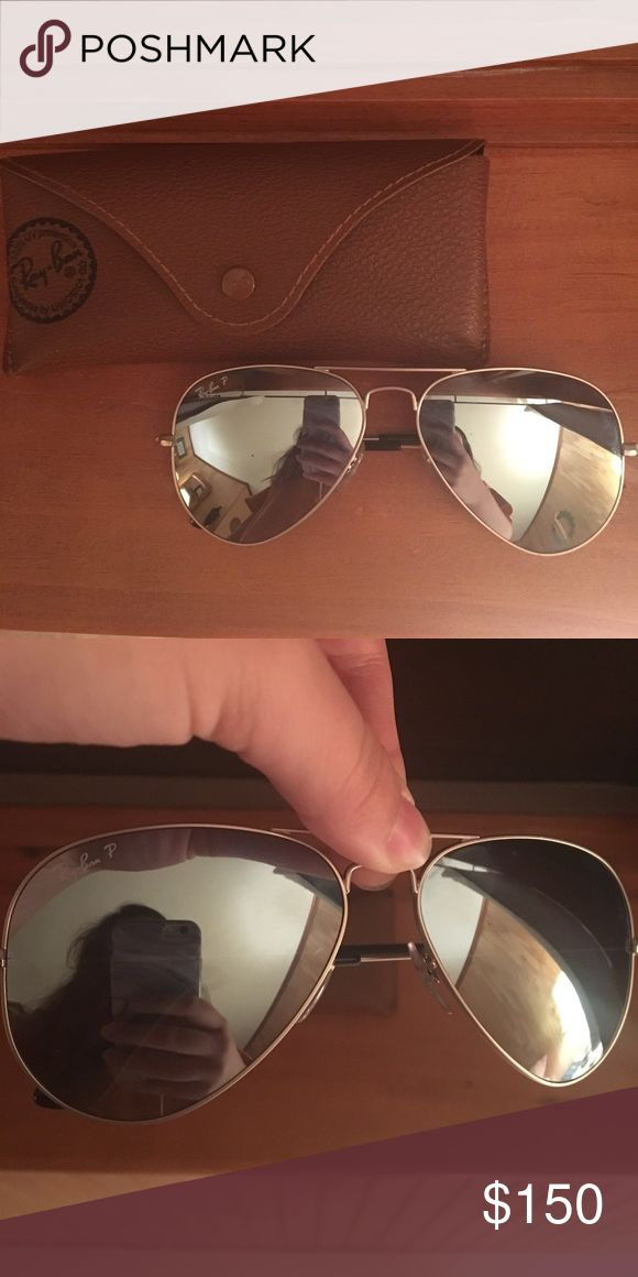 Ray Ban Polarized Mirrored Aviators Silver mirrored polarized Ray Bans & case! Great condition, hardly used. Would love to trade for Ray Ban round sunglasses or best offer !!! Ray-Ban Accessories Sunglasses