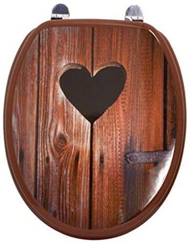 Abattant – Lunette WC décor Cœur en MDF et charnières métal, Dim : 37,8 x 43,8 cm -PEGANE-: Price:42Abattant WC MDF avec charnières en…