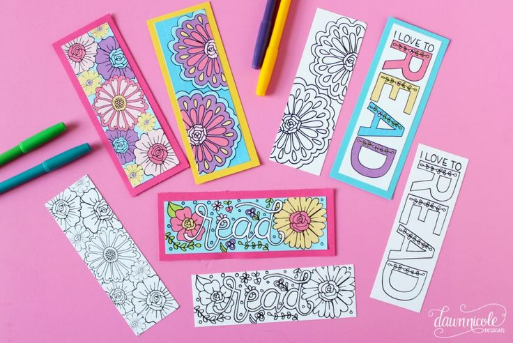 NEW! Summer Coloring Page Bookmarks | Color your own or grab the already colored printable version. Both downloads are free on the blog! | DawnNicoleDesigns.com