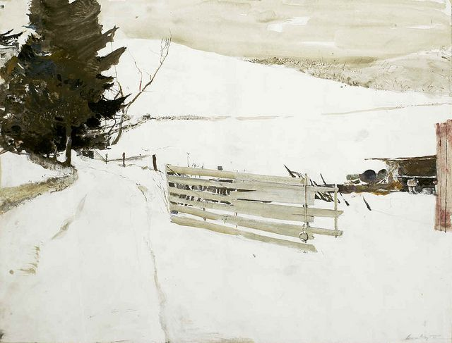 Andrew Wyeth 'Not Plowed' 1985 watercolor by Plum leaves, via Flickr