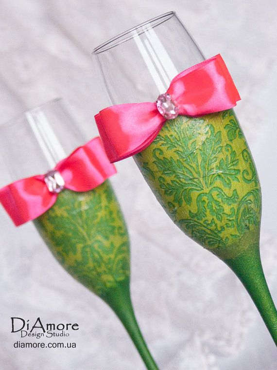 lime green and hot pink Wedding glasses from the by DiAmoreDS, $47.00
