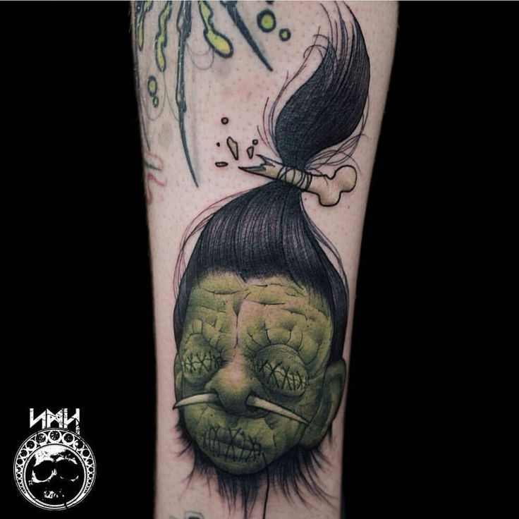 Shrunken Head Tattoo by Scott Harrison The image is of a tattoo located on someone's arm. The tattoo is of a Frankenstein-like shrunken head. The eyes are sewn shut. There is a piercing going through both nostrils. The mouth is sewn shut as well. The hair is tied up around a broken bone. The hair is a dark black, and is pencil thin. The creature has green skin. They also have a wrinkly face, making them look older. (Visited 270 times, 1 visits today)