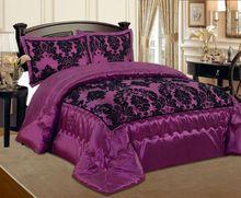Luxurious 3 Pcs Flock Quilted Bedspread / Comforter Set - CLARET VIOLET / AUBERGINE WITH BLACK - RV