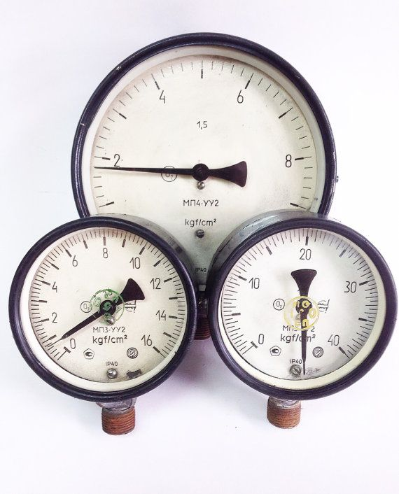 3 Vintage Soviet Pressure Gauges Collectible by SovietHardware