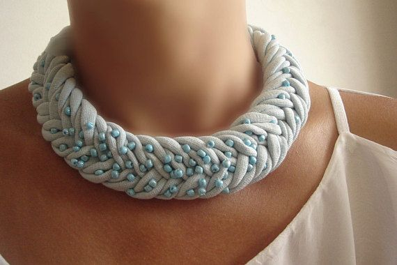 Baby blue #fabric necklace Braided #Necklace #African Necklace