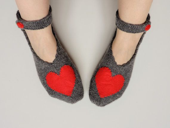 Valentines Day Grey Love Slippers Hand Knit by theknittingsea