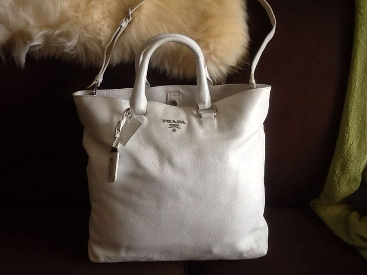 Prada (Genuine with Authenticity Cards) Vitello Daino Bianco (#BN1713) Leather Tote in EUC (Value Village for $139.99 minus 50% off with Club Card = $69.99 MSRP is about $1,795)