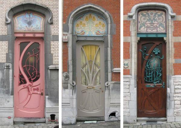 Art Nouveau sur trois portes successives, Ixelles, Bruxelles