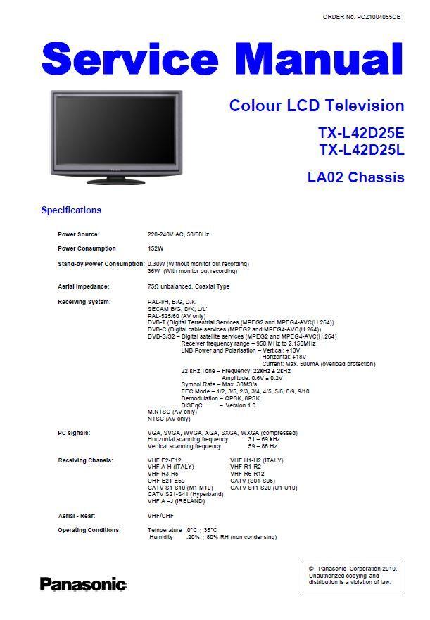 Panasonic Tx L42d25e L42d25l Tv Service Manual And Repair Guide Repair Guide Tv Services Panasonic