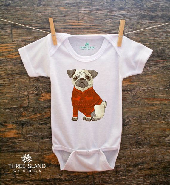 SALE//Graphic One Piece Baby Bodysuit for Baby Boy or Baby Girl,Baby Clothes,Baby Shower,Baby Christmas,Baby Birthday,Pug,Christmas Sweater