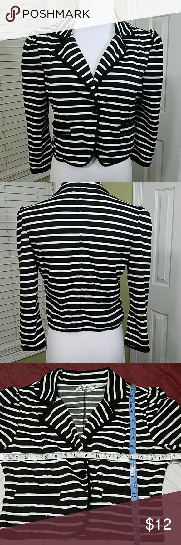 Body Central one button crop coat Body Central one button crop coat.  In good condition.  Length is about 17 inches.  Bust is about 34 inches. Materials shown in pictures. Body Central Jackets & Coats