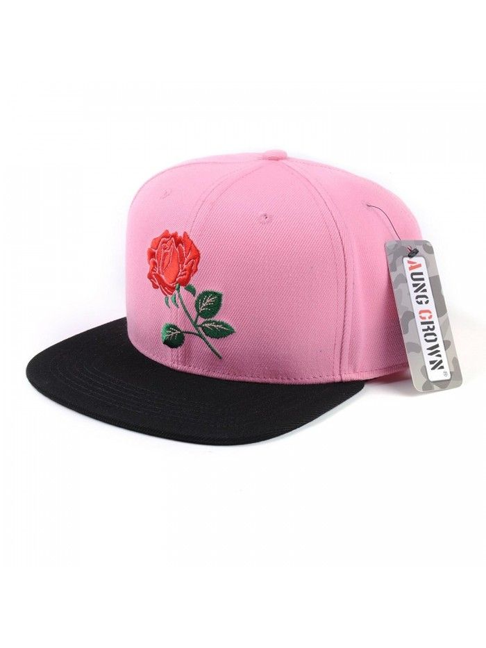 Rose Flat Bill Snapback Hats Embroidered Women Men Adjustable ... 486734f960c