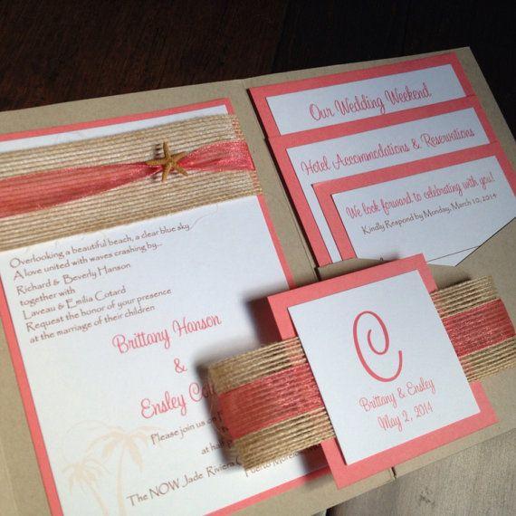 Very pretty combination --Beach Pocket Wedding Invitation Tropical by decadentdesigns, $6.00