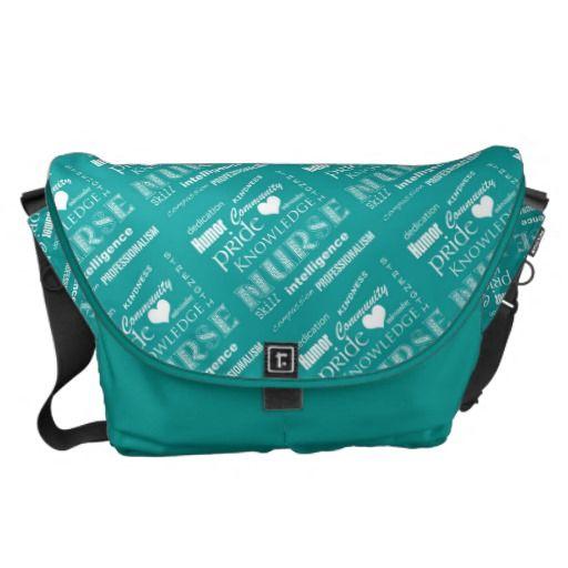 Nurse Pride-Attributes/Turquoise+White Heart Courier Bag