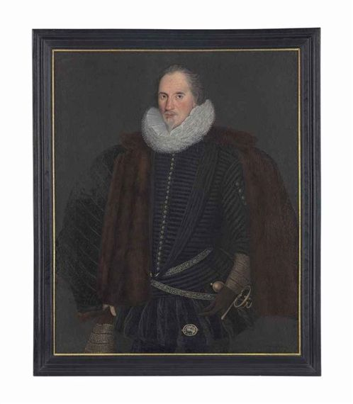 Artwork by British School, 16th Century, Portrait of Sir John Scudamore (1540-1623), of Holme Lacy, Herefordshire, three-quarter-length, in a black doublet and ruff, and fur-lined mantle, with a bust profile miniature pinned to his hose, his left hand resting on the hilt of his sword, Made of oil on canvas