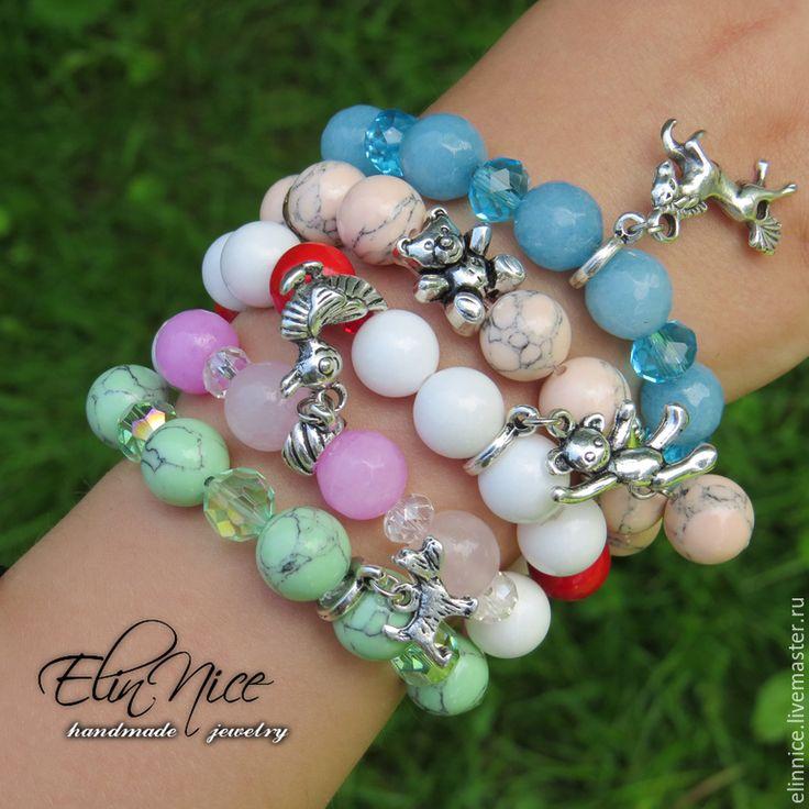 """Купить """"Маленькая модница"""" Детские браслеты из натуральных камней - разноцветный, детская бижутерия, детский браслет"""