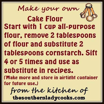 Did you ever get ready to make a recipe that calls for cake flour to find that you don't have any on hand? Here is a handy tip on how to make a substitute for cake flour in a recipe. Many of you ...