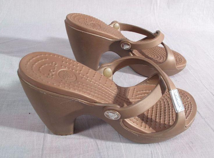 Women's Crocs Sandals Brown Size 5 W Heels Rubber High Slides #Crocs #Slides