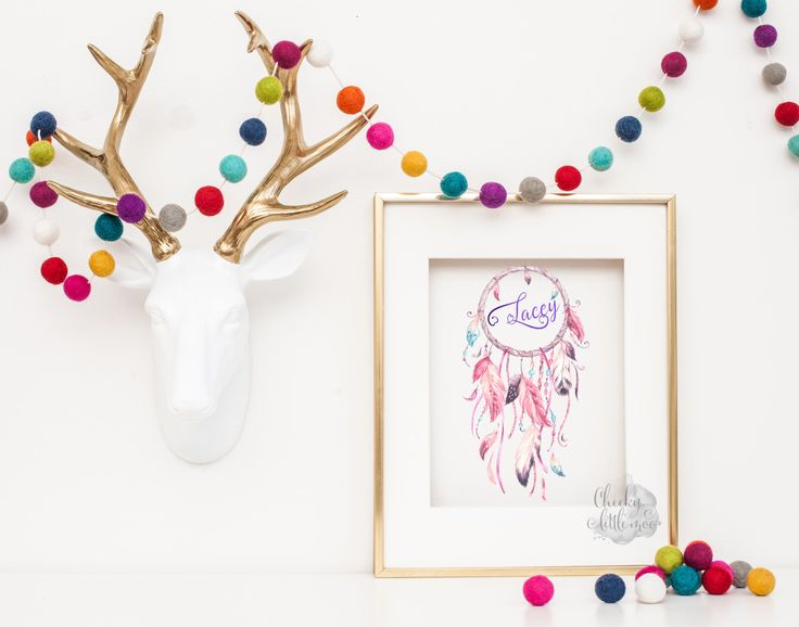 Real foil print - foil name in watercolor dream catcher by CheekyLittleMoo on Etsy https://www.etsy.com/au/listing/269674717/real-foil-print-foil-name-in-watercolor