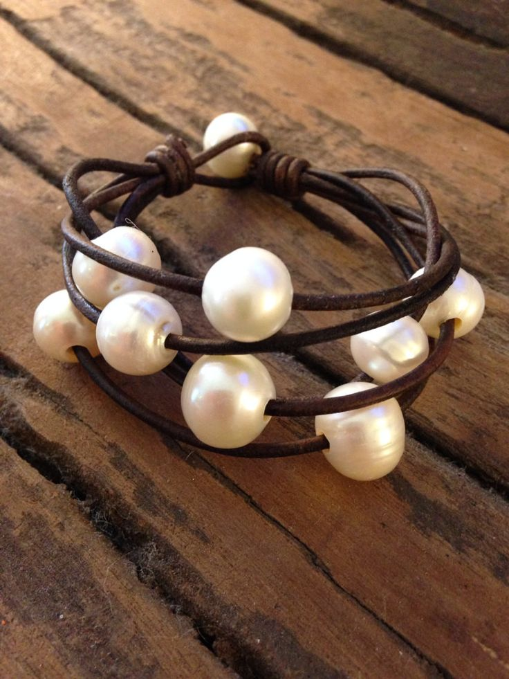 Pearls and Leather Bracelet- Freshwater Pearls and Leather Bracelet - Leather…