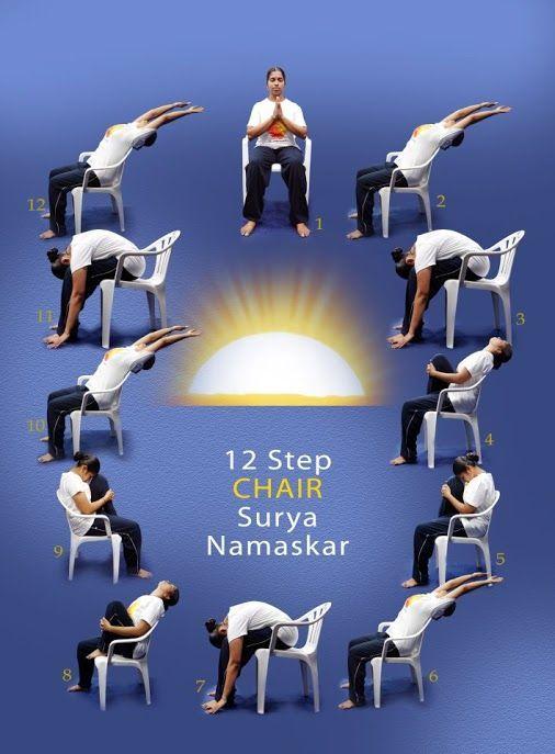 Saludos de Sol sentados vía ranawaxman: Aprenda prácticas de Yoga simples y adáptelos a su entorno y cantidad de tiempo que usted tiene para la práctica ... Sea cauteloso *Yoga *Chair_Yoga