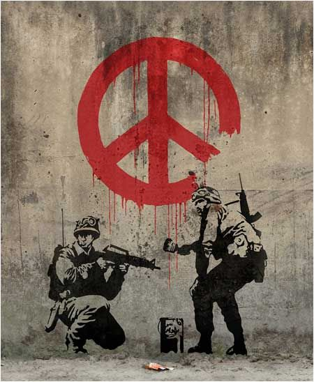 Banksy Soldiers Painting CND Sign Graffiti - London