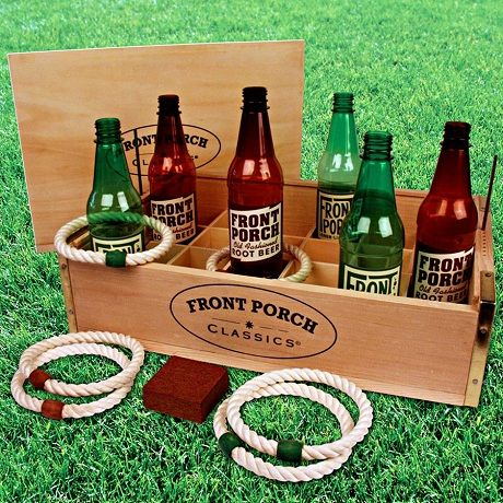 Fun, pre wedding games.  This can be played at both the wedding reception and the bachelor/bachelorette parties. OR you can make this a fun twist on your horseshoe game. Beer bottle and rope rings.